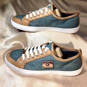 GUESS sneakers blue denim tan leather 7